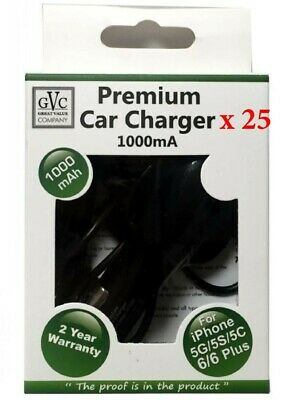 WHOLESALE JOBLOT - 25 x GVC 1000mA Car Charger For Apple Iphone 5/6/7/8/X etc..