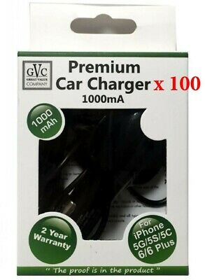 WHOLESALE JOBLOT - 100 x GVC 1000mA Car Charger For Apple Iphone 5/6/7/8/X etc..
