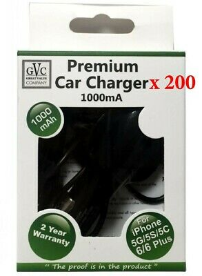 WHOLESALE JOBLOT - 200 x GVC 1000mA Car Charger For Apple Iphone 5/6/7/8/X etc..