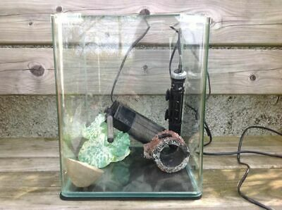 Dennerle panoramic nano cube tank 20l, comeplete with heater, filter, ornaments