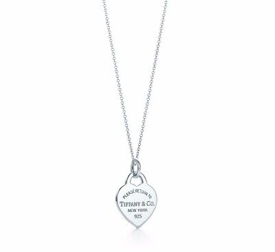 Womens Return To Tiffany Sterling Silver Medium Heart Tag Charm Pendant Necklace