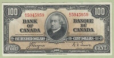 1937 Bank of Canada 100 Dollar Note - Coyne/Towers - B/J5045959 - AU
