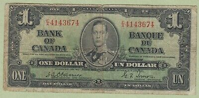 1937 Bank of Canada One Dollar Note - Osborne/Towers - E/A4143674 - VG