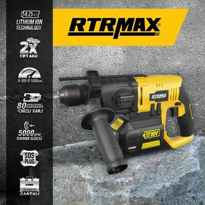 RTX1855 Cordless SDS Drill 2 18v x Li-Ion Batteries & Quick charger RTX1855