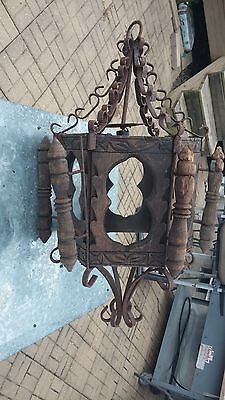 Antique Large 6 Sides Iron Carved Wood Spanish Pendent Gothic Hanging Swag Lamp