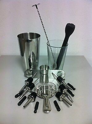 Kit Barman 19 Piece Barman Set Shaker Tin Boston Pestle New 2016 R02