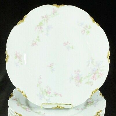 "Haviland Limoges Schleiger 36D Dinner Plate(s) 9 3/4"" Pink Lavender Flowers Gold"