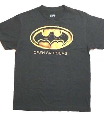 DC Comics Mens Batman Logo Open 24 Hours Graphic T Shirt Black Cotton Medium