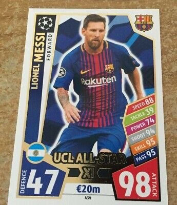 Match Attax Champions League 2017/2018 17 18 Lionel Messi UCL All-Star XI card