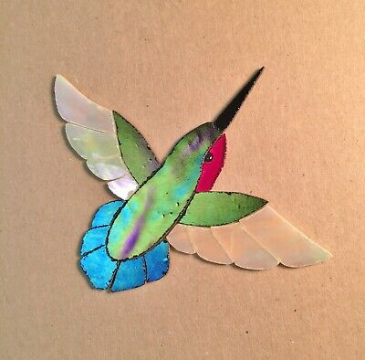 Precut Stained Glass Art Kit Male Hummingbird Mosaic Inlay Garden Stone