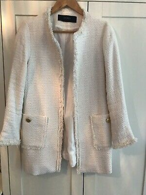 12bfd49a ZARA Ivory Cream Boucle Tweed Collarless Coat/ Jacket M Worn Once RRP £69.99