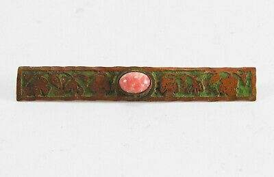 Frost Workshops Arts & Crafts jewelry acid etched copper & stone bar pin Dayton
