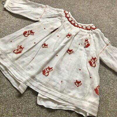 Next Baby Girls Dress White With Foxes On 6 - 12 Months button back outfit top