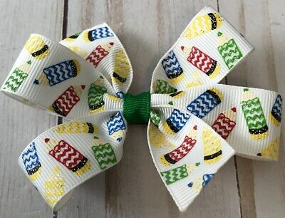 TaylorMade Custom Boutique hair Bow School Crayon Print New