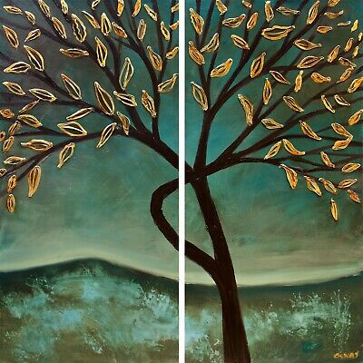 Original Green Gold Blooming Tree abstract painting, Teal Tree art by Osnat