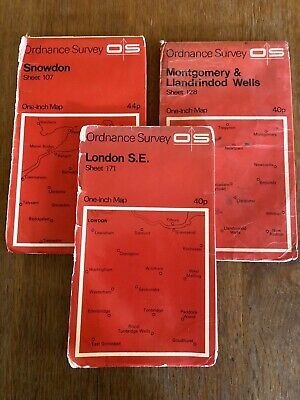 Vintage OS Ordnance Survey One-inch Seventh Series Maps x3. Sheets 107, 128, 171