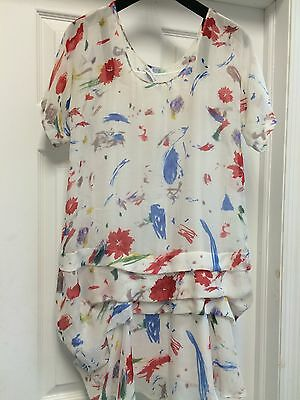 93dd1c9320eb9 See By Chloe Floral Multi-Color Silk Dress White Cotton Lining Sz 4 Italy 40