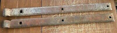 "2 Vintage Antique Strap Hinges Barn Door Gate Pair Repurpose 26"" Long By 2"" Wide"