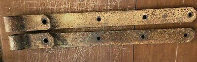 "2 Vintage Antique Strap Hinges Barn Door Gate Pair Repurpose 25"" Long By 2"" Wide"