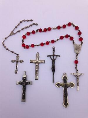 Lot of 6 Vintage Rosary Beads & Cross Crucifix Pendants