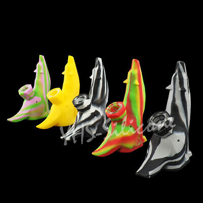 1x creative Wolf Design Silicone Pipe Hand  Smoking Pipes with Glass Bowl