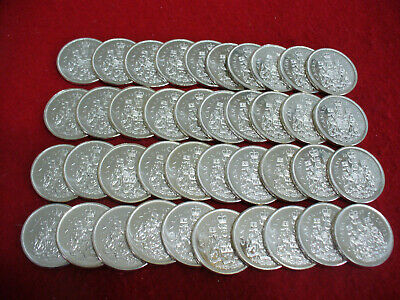 Lot Of 40 1965   Canada  Half  Dollar  Silver  Coins  50  Cent  Piece