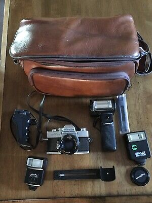 Minolta SRT202 SLR Camera Used Bundle Lot With Accessories Must See!