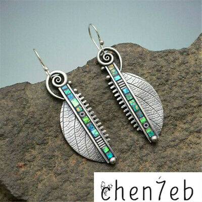 Lady Vintage 925 Silver Leaf Earrings Hook Dangle Women Wedding Party Jewelry