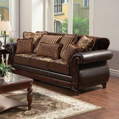 Fabulous Furniture Of America Richborough Fabric And Leatherette Sofa Caraccident5 Cool Chair Designs And Ideas Caraccident5Info