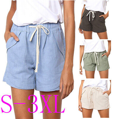 cd21f676429a84 WOMENS JERSEY COTTON Shorts With Elasticated Waist Holiday Beach ...