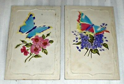 LOT of 2 Beautiful EMBOSSED Butterfly Vintage Butterflys Postcards