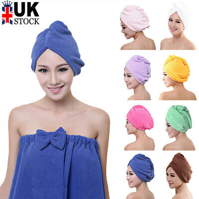 Microfibre After Shower Hair Drying Wrap Towel Quick Dry Hair Hat Cap Turban UK