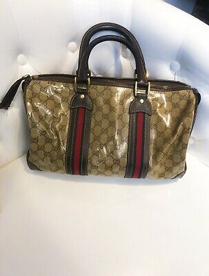c8742aae1c31a8 RARE VTG 1970S Gucci Italy Large White Vinyl Tennis Bag Green Red ...