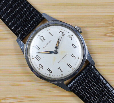 Vintage BENRUS Manual Wind Swiss Stainless Steel Men's Watch Black Leather Band