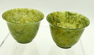 Vintage Chinese footed Wine Cups carved from bowenite or Xiu jade
