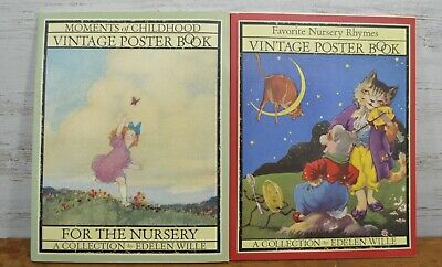 LOT of 2 Vintage Poster Books Wall Hangings Nursery Rhymes Pictures Poems