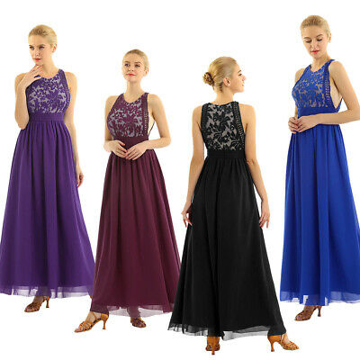 Women Floral Lace Dresses Chiffon Evening Gown Elegant Bridesmaid Party Prom