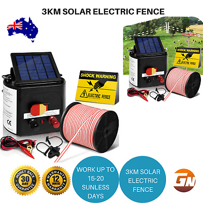 Giantz 3km Solar Electric Fence Insulator Sign Energiser Charger with 400M Tape