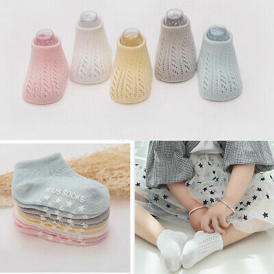 New 5 Pairs Summer Knitted Hollow Cotton Short Mesh Socks for Newborn Kids Baby