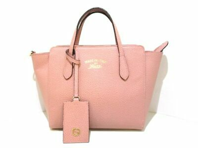 4de3c6c83afbbf Auth GUCCI Swing Mini Leather Top Handle Bag 368827 Pink Beige Leather  Handbag
