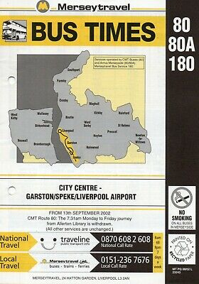 MERSEYTRAVEL BUS TIMETABLE - 80/80A/180 - Liverpool-Garston/Airport - Sept  2002
