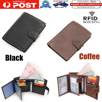 Large Capacity Leather Trifold Wallet RFID Blocking Credit Card Holder With Zip