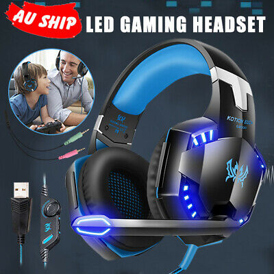 3.5mm EACH Gaming Headset MIC LED Headphones for PC Laptop PS4 Xbox One 360 EC