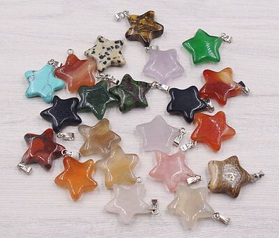 Wholesale Lot 10pcs MIX Natural Stone pentagram Gemstone Necklace Pendant