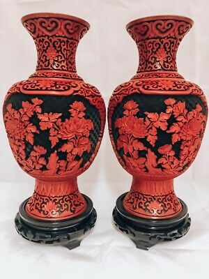 Very Large Cinnabar Lacquer Chinese Black and Red Pair of Vases/Blue Enamel In