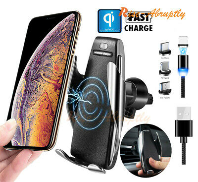 Automatic Clamping Wireless Car Charging Charger Mount For Mobile Cell Phones
