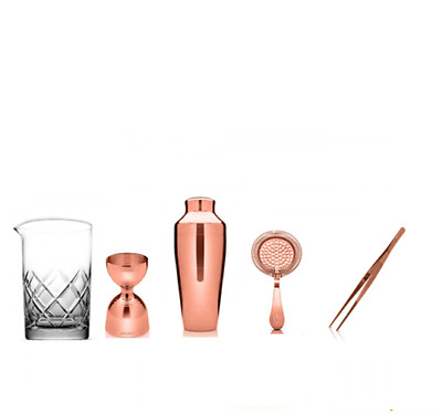 Kit Barman New Copper Style Copper Plated 5 Pieces Mixing Glass Yarai B01