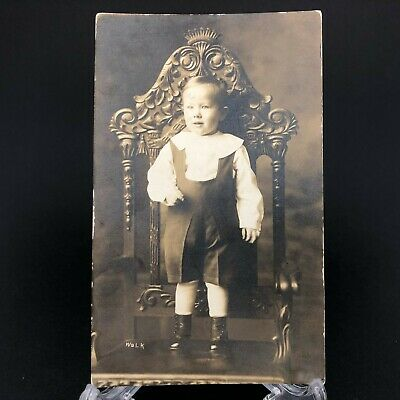 Antique Early RPPC Vintage Postcard Child Portrait Heavy Carved Chair Furniture