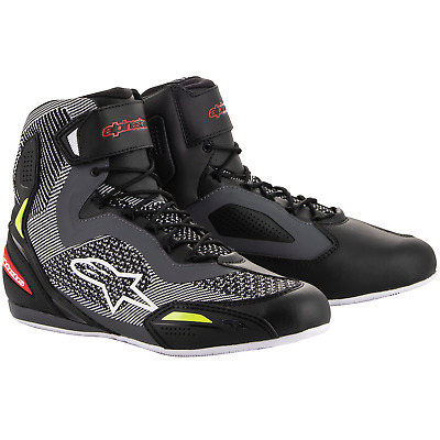 Alpinestars Faster-3 Ride Knit Motorcycle Shoes - Black Grey Red Flo Yellow