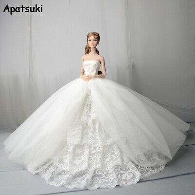 White Lace Handmade Wedding Dress For Barbie Doll Outfits Doll Clothes 1/6 Toy